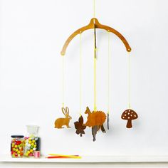 Wooden mobile with forest characters | Wooden nursery décor | New baby gift | Cot mobile | Unisex baby present | Woodland animals