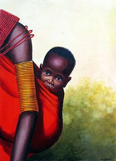 There are original African artists - and there is Geoffre Mugwe. In a class by himself, Mugwe has aligned himself with one particular gallery in Nairobi and Kenyan Artists, African Artists, African Artwork, African Children, African Culture, Mothers Love, Black Art, Black History, Paintings