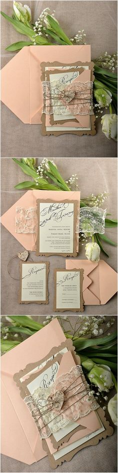 Rustic Eco Peach Lace Laser Cut Wedding Invitation Kits
