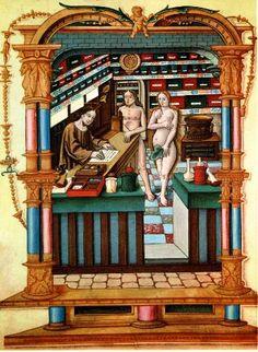 """Société d'Histoire de la Pharmacie_Le Christ apothicaire (A droite, le Christ apothicaire prépare une ordonnance pour Adam et Eve. Miniature tirée du manuscrit """"Chants Royaux du Puy de Rouen"""" (1519-1528) (BNF, Paris). Cette miniature nous donne une représentation exacte de l'agencement d'une pharmacie de l'époque. Les pots et coffrets sont munis d'inscriptions et au milieu trône le grand mortier avec ses pilons."""