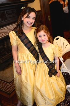 Dandelion Yellow and Irish Clan Plaid flower girl dress