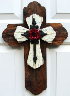 Beautiful stacked wooden cross, accented with a tin rose, hand-crafted and designed by DiaMor De'cor