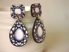Grey and White Gem Dangle Earrings  Laser Cut by HungryDesigns, $24.00