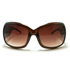 Women's Oval Rectangular Warp Around Sunglasses with Thick Temples- Brown DQ Eyewear. $9.90