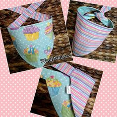 *Reversible (two sided) Tie Around Dog/Cat Bandana *Sparkly Cupcake Print/ Sparkly Pastel Stripes *Please message me for any fabric print requests or custom size requests *Handmade with Love 💖