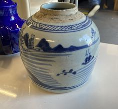 Very Rare and Unusual! Just in - a 17th century Ming Dynasty Ginger Vase decorated with blue landscapes on a white background. Fragile Condition slight cracks 17th Century, Landscapes, Auction, Vase, Home Decor, Paisajes, Scenery, Decoration Home, Room Decor