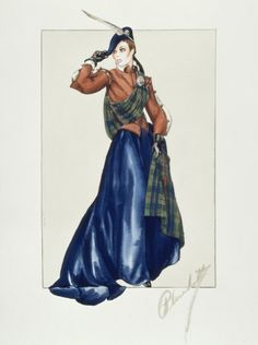 Costume design by Walter Plunkett for Katharine Hepburn in Mary of Scotland (1936).