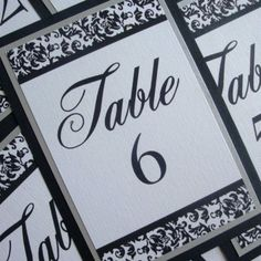 Table Numbers -- Set of 20 -- in Silver Metallic, Black, and White with Swarovski Crystal