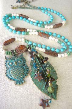 STARFLOWER OWL Long Bangle Drop Gemstone by BraceletsofBlueRidge