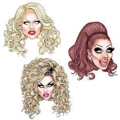 Rupaul's Drag Race Season 6 Top 3 FanArt: Adore Delano, Bianca Del Rio and Courtney Act