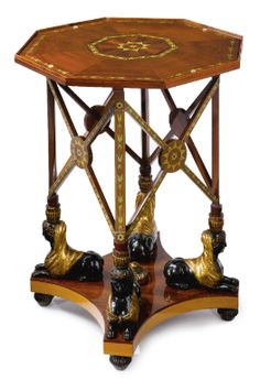 A Russian Neoclassical brass-inlaid, parcel-gilt and part-ebonized mahogany table, first quarter 19th century