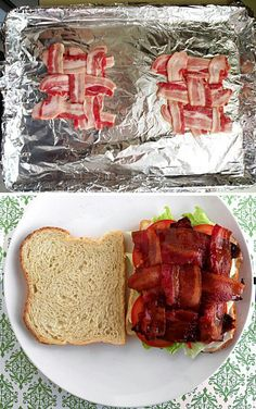 My husband cooks bacon in the oven on a lined cookie sheet at 400 F and it works really well. We've got to try this.