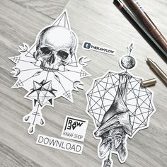 Dotwork occult skull bat tattoo design with geoemtry, both designs are available on rawaf.shop