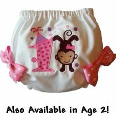 These adorable monkey baby bloomers will bring a smile to her face. Pink polka dot applique and pink side bows add extra cuteness! Also available in age 2 http://luckyskunks.com/birthday-outfits/391-pink-polka-dot-birthday-monkey-baby-bloomers.html