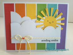 Rainbows and sunshine Kids Birthday Cards, Handmade Birthday Cards, Greeting Cards Handmade, Weather Cards, Rainbow Card, Cricut Cards, Cute Cards, Easy Cards, Pretty Cards