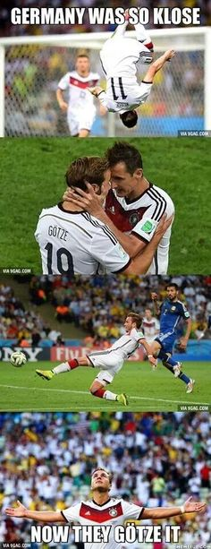 From Twitter 'Congratulations germany.. the world champions were so #klose , then they #gótze it ;)'