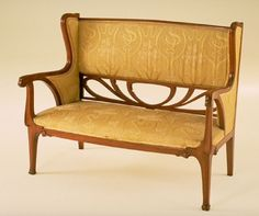 Art Nouveau sofa, Italian, mahogany and silk, ca. 1900.