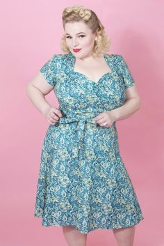 c87870803a2 1940s Style Dresses and Clothing Aimee Dress - Scroll Blue AT  vintagedancer.com 1940s Fashion
