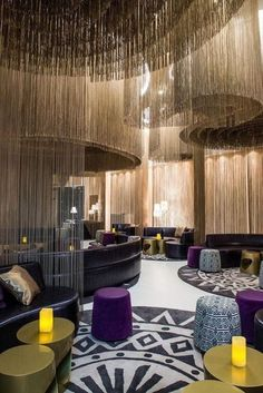 This inspiringly colourful hotel lounge makes smart use of seating. (W Hotel Bogota, Colombia) Luxury Hotel Design, Hotel Room Design, Lobby Design, Luxury Interior Design, Luxury Hotels, Lounge Design, Design Entrée, Design Ideas, Design Projects
