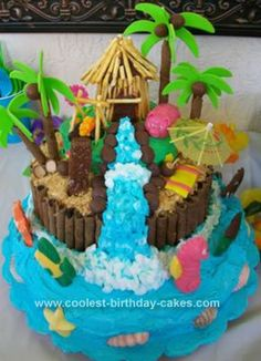Homemade 3D Luau Birthday Cake: My inspiration for the luau cake came from this Coolest-Birthday-Cake.com website. The cake for my daughter's 6th birthday (Barbie cake) was a disaster,