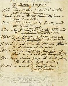 "WHITMAN, WALT. 1819-1892.  Autograph Manuscript Signed (""Walt Whitman""), titled ""Rain Enigma,"" 1 p, 4to, [Camden, NJ, 1885],"