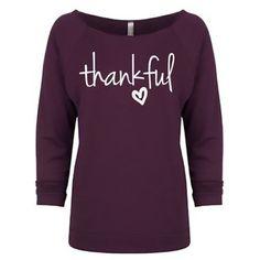 (pre-order) Plum Thankful Sweatshirt ($45) ❤ liked on Polyvore featuring tops, hoodies, sweatshirts, wide neck tops, purple top, purple sweatshirt, 3/4 length sleeve tops and plum top