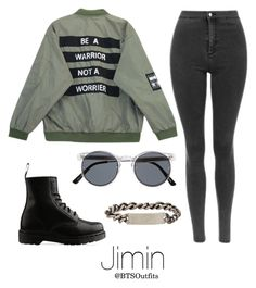 """Military/ Army Inspired: Jimin"" by btsoutfits ❤ liked on Polyvore featuring Chicnova Fashion, Dr. Martens, Spitfire and Werkstatt:München"