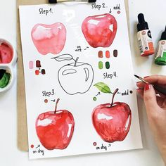 Watercolor Paintings For Beginners, Watercolor Art Lessons, Watercolor Fruit, Fruit Painting, Easy Watercolor, Watercolour Tutorials, Watercolor Drawing, Painting & Drawing, Rock Painting