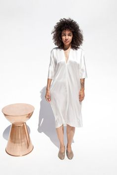 Muse Dress, Silk Charmeuse in Natural