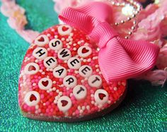Valentine Sweet Heart Necklace with Red and White Candy Cupcake Sprinkles