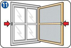 Instructions on how to own a fly screen door or a fly screen window. Window Fly Screens, Fly Screen Doors, Porte Diy, Recycled Furniture, Diy Wood Projects, Wood Pallets, Diy And Crafts, Home Improvement, Windows