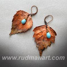 OOAK Earrings. Copper Preserved Nature  Unique by RudmanArt