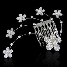 Wedding Flower Daisy Hair Comb Swarovski Crystal Vintage Style