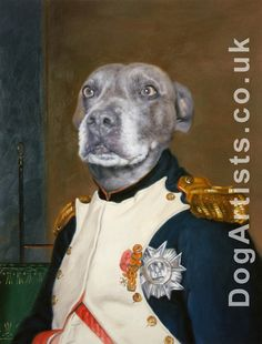 Take a look at this dog painted as Napoleon, a wonderful example of a Dog in military uniform oil painting hand-painted by DogArtists.co.uk. If you would like to have your dog painted in military uniform please email: hello@dogartists.co.uk #art #dogs #dogsinuniform