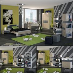 Grey Stripes and Lime Green