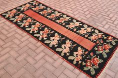 Hi there! Welcome to VinArtStore!  Vintage Art Store  Vintage handwoven kilim runner rug Turkish Anatolian handmade runner cecim runner interior design runner carpet turkey runner Flower patterned faded black and bright red color multi color rug  This is a small sized vintage anatolian Kilim rug, which was made during 1950s in tribal villages in Anatolia. Super Fast Delivery! I will send the rug with FedEx, You will receive your rug within 3 - 5 business days. You can return the rug if you…