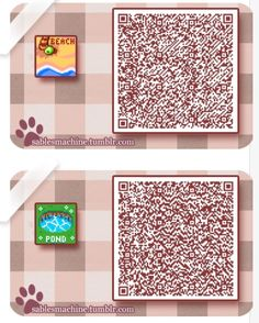 QR codes- Various Signs pattern. For beach or pond. ~Animal Crossing