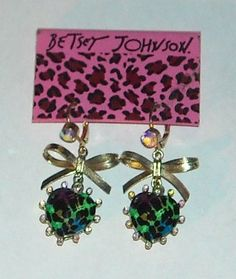 'Betsey Johnson Asian Jungle Heart Drop Earrings' is going up for auction at  9pm Sat, Feb 9 with a starting bid of $20.