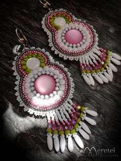 Pearl and luna soft cabochon leather embroidery dangling earring 10 cm Dangle Earrings, Crochet Earrings, Leather Embroidery, Jewelery, Pearls, Trending Outfits, Rose, Unique Jewelry, Handmade Gifts