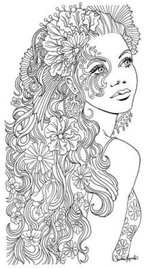 Girly Mandala Coloring Pages Woman by Christine Kerrick Free Adult Coloring, Adult Coloring Book Pages, Mandala Coloring Pages, Printable Adult Coloring Pages, Free Coloring Pages, Coloring Books, Colouring Pages For Adults, People Coloring Pages, Fairy Coloring
