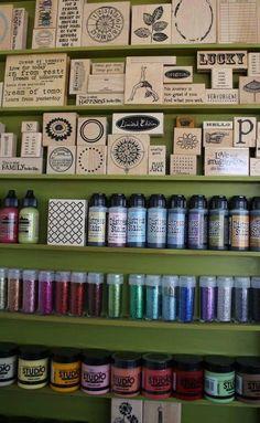 Organización de sellos, tintas y escarchas