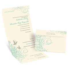 Butterflies Ecru Seal and Send Wedding Invitation at Ann's Bridal Bargains