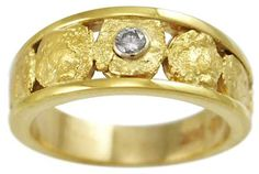 9mm Natural Gold Nugget Ring with One .10 carat Diamond