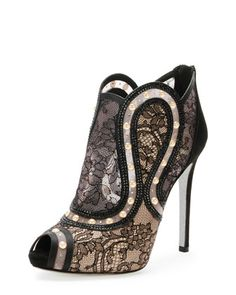 Peep-Toe Pearly Lace Bootie, Black/Gold by Rene Caovilla   cynthia reccord