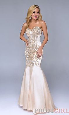Long Open Back Strapless Mermaid Gown