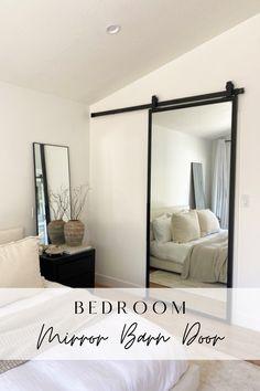 Mirror On Door, Closet With Mirror, Black Framed Mirror, Mirrored Closet Doors, Mirror In Bedroom, Frame Mirrors, Modern Closet Doors, Bedroom Closet Doors, Barn Door Closet