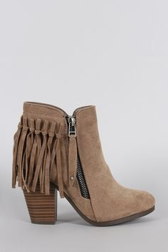 FREE SH & Easy Returns! Shop Breckelle Suede Fringe Cowgirl Chunky Heeled Ankle Boots. These ankle boots feature a fringe design at the back, round toe silhouette, and chunky stacked heel.