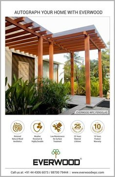 Everwood WPC pergolas add beauty and elegance to your outdoor living space and as an extension of your building. We offer the best natural finish, low maintenance WPC pergolas with no painting or regular maintenance. Outdoor Spaces, Outdoor Living, Cladding Materials, Environmental Pollution, Outdoor Material, Building Facade, Steel Frame, Natural Wood, Gazebo