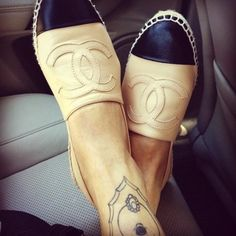 Shoes: loafers flat chanel beige black summer chanel logo flats nail polish chanel slippers chanel