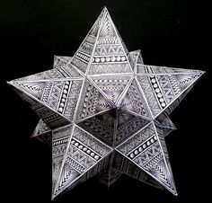 How to make a zentangled polyhedron ~ small Stellated Dodecahedron ~ #ZIA @Barbara Acosta Acosta Acosta Acosta Acosta Acosta Acosta Acosta Acosta Jeann Sanborn-Konopa